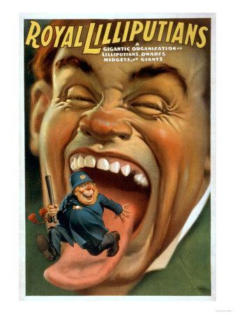 Lilliputians, Dwarfs, Midgets, and Giants Theatre Poster-Lantern Press-Framed Art Print