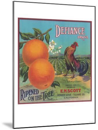 Defiance Orange Label - Venice Cove, CA-Lantern Press-Mounted Art Print