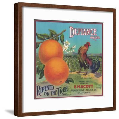 Defiance Orange Label - Venice Cove, CA-Lantern Press-Framed Art Print