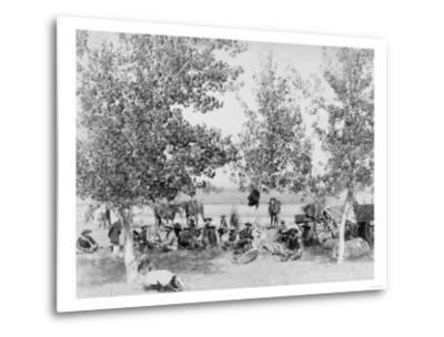 Cowboys Eating Dinner on Ground Under Trees Photograph - South Dakota-Lantern Press-Metal Print