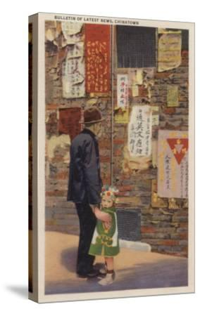 Father and Son Chinatown Reading Latest News San Fran, CA - San Francisco, CA-Lantern Press-Stretched Canvas Print