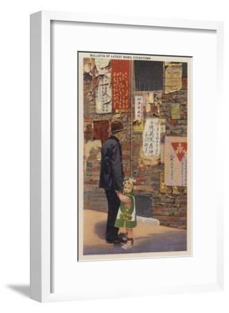 Father and Son Chinatown Reading Latest News San Fran, CA - San Francisco, CA-Lantern Press-Framed Art Print