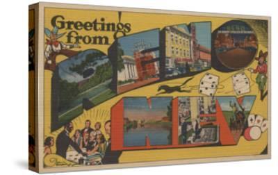 Greetings from Reno, Nevada - Reno, NV-Lantern Press-Stretched Canvas Print