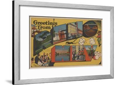Greetings from Reno, Nevada - Reno, NV-Lantern Press-Framed Art Print