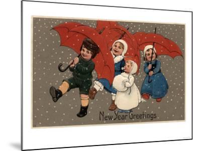 New Year Greetings - Little Kids with Umbrellas-Lantern Press-Mounted Art Print