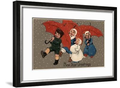 New Year Greetings - Little Kids with Umbrellas-Lantern Press-Framed Art Print
