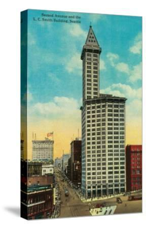 Smith Tower Building and Second Avenue, Seattle - Seattle, WA-Lantern Press-Stretched Canvas Print
