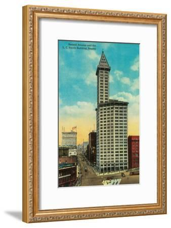 Smith Tower Building and Second Avenue, Seattle - Seattle, WA-Lantern Press-Framed Art Print