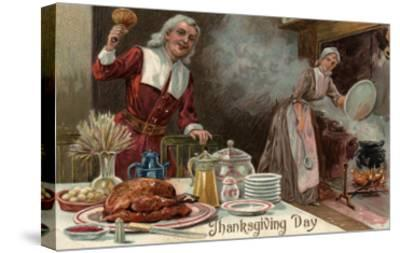 Thanksgiving Day - Pilgrim Dinner Scene-Lantern Press-Stretched Canvas Print
