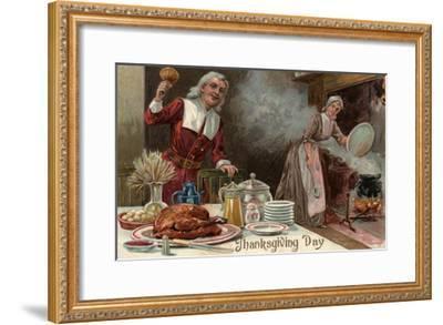 Thanksgiving Day - Pilgrim Dinner Scene-Lantern Press-Framed Art Print