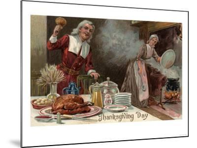 Thanksgiving Day - Pilgrim Dinner Scene-Lantern Press-Mounted Art Print