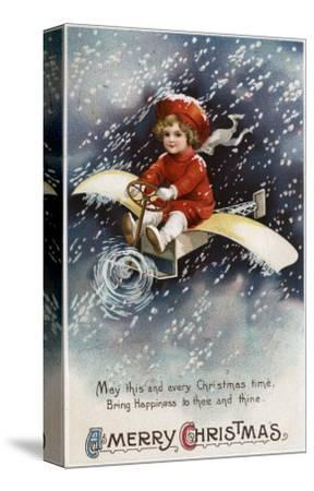 Merry Christmas - Boy Flying Make-Shift Airplane-Lantern Press-Stretched Canvas Print