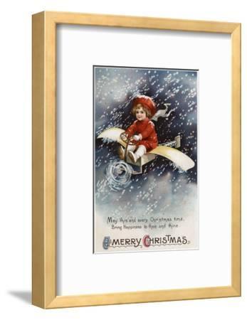 Merry Christmas - Boy Flying Make-Shift Airplane-Lantern Press-Framed Art Print