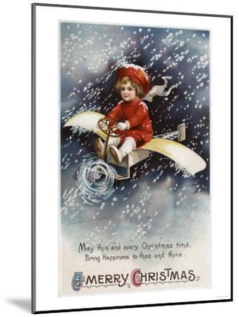 Merry Christmas - Boy Flying Make-Shift Airplane-Lantern Press-Mounted Art Print