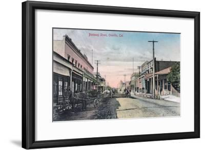 View of Business Section with Horse Carriages - Oroville, CA-Lantern Press-Framed Art Print