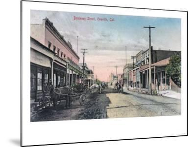 View of Business Section with Horse Carriages - Oroville, CA-Lantern Press-Mounted Art Print