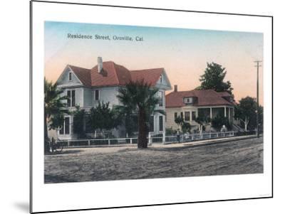 View of a Residence Street, Kid on Bike - Oroville, CA-Lantern Press-Mounted Art Print
