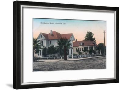 View of a Residence Street, Kid on Bike - Oroville, CA-Lantern Press-Framed Art Print