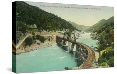 Railway Bridge over Merced River en route to Yosemite - Bagby, CA-Lantern Press-Stretched Canvas Print