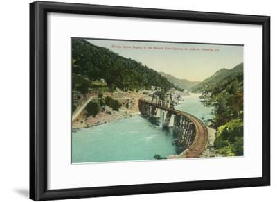 Railway Bridge over Merced River en route to Yosemite - Bagby, CA-Lantern Press-Framed Art Print