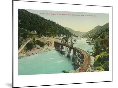 Railway Bridge over Merced River en route to Yosemite - Bagby, CA-Lantern Press-Mounted Art Print