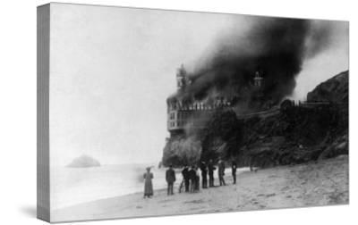 The Cliff House on Fire - San Francisco, CA-Lantern Press-Stretched Canvas Print