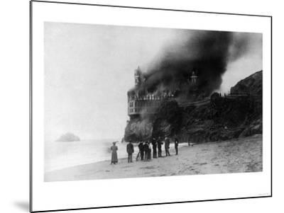 The Cliff House on Fire - San Francisco, CA-Lantern Press-Mounted Art Print