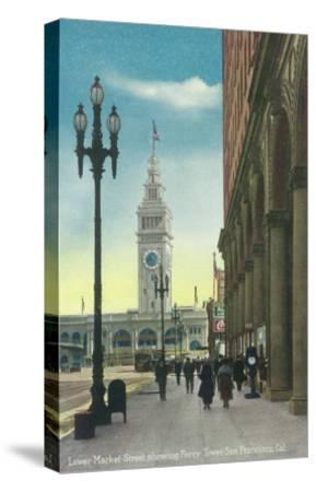 View of Lower Market St showing Ferry Tower - San Francisco, CA-Lantern Press-Stretched Canvas Print
