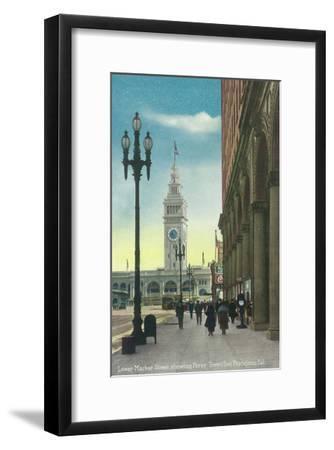 View of Lower Market St showing Ferry Tower - San Francisco, CA-Lantern Press-Framed Art Print