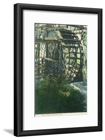 View of a Water Wheel - Redding, CA-Lantern Press-Framed Art Print