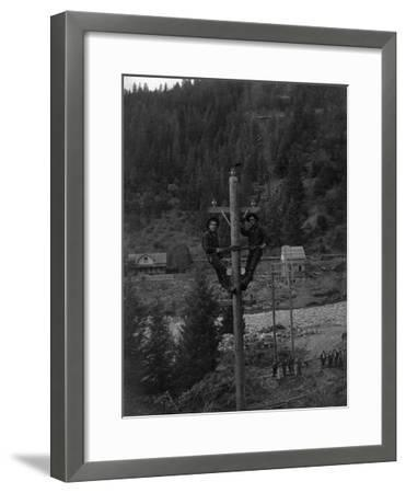 View of Electricians Fixing Wired Pole - Sawyers Bar, CA-Lantern Press-Framed Art Print