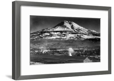 Mt. Shasta View from City - Weed, CA-Lantern Press-Framed Art Print