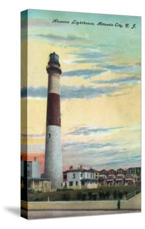 View of Absecon Lighthouse - Atlantic City, NJ-Lantern Press-Stretched Canvas Print
