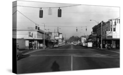 Street Intersection Scene - Monroe, WA-Lantern Press-Stretched Canvas Print