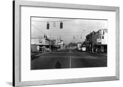 Street Intersection Scene - Monroe, WA-Lantern Press-Framed Art Print