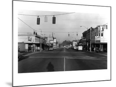 Street Intersection Scene - Monroe, WA-Lantern Press-Mounted Art Print