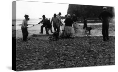View of Indians Smelting - La Push, WA-Lantern Press-Stretched Canvas Print