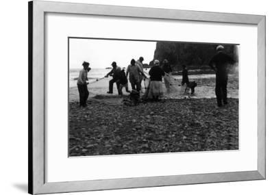 View of Indians Smelting - La Push, WA-Lantern Press-Framed Art Print