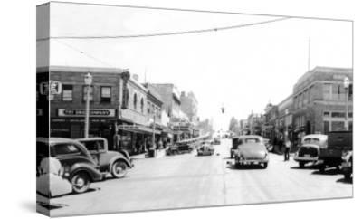 Street Scene, View of the Fry Drug Company - Port Angeles, WA-Lantern Press-Stretched Canvas Print
