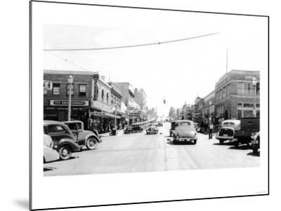 Street Scene, View of the Fry Drug Company - Port Angeles, WA-Lantern Press-Mounted Art Print