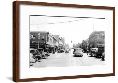 Street Scene, View of the Fry Drug Company - Port Angeles, WA-Lantern Press-Framed Art Print