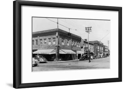 Street Scene, View of Vioue's Pharmacy - Renton, WA-Lantern Press-Framed Art Print