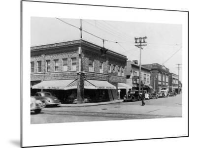 Street Scene, View of Vioue's Pharmacy - Renton, WA-Lantern Press-Mounted Art Print
