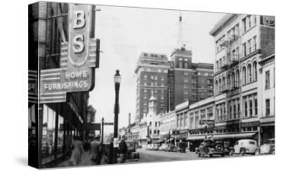 View of a Street Scene Downtown - Spokane, WA-Lantern Press-Stretched Canvas Print
