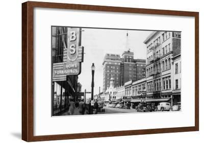 View of a Street Scene Downtown - Spokane, WA-Lantern Press-Framed Art Print