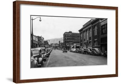 View of a City Street Scene - Lewiston, ID-Lantern Press-Framed Art Print