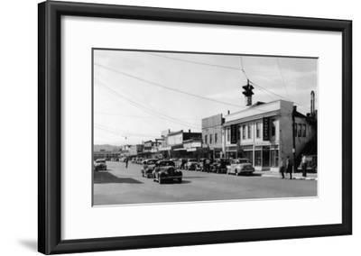 View of Downtown Street - Port Orchard, WA-Lantern Press-Framed Art Print