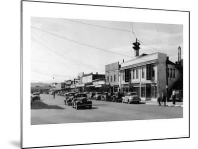 View of Downtown Street - Port Orchard, WA-Lantern Press-Mounted Art Print