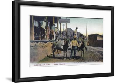 View of Donkeys Carrying Water - Bisbee, AZ-Lantern Press-Framed Art Print