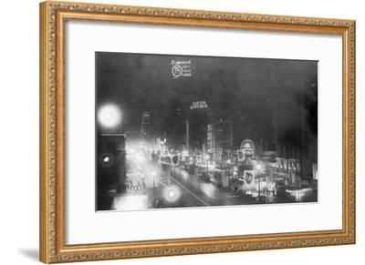 Nightview of the Neon Signs - New York, NY-Lantern Press-Framed Art Print